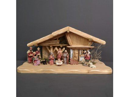 Dřevěný betlém s figurkami 45 cm