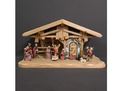 Dřevěný betlém s figurkami 44 cm