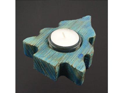 Dřevěný svícen strom modrý