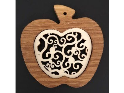 Dřevěná ozdoba z masivu s vkladem - jablko s ornamentem 7 cm