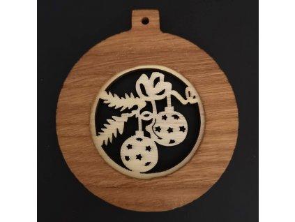 Dřevěná ozdoba z masivu s vkladem - koule s koulemi 8 cm