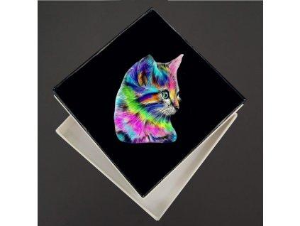 dřevěná brož kočka