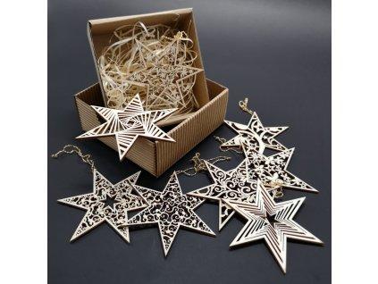Vánoční set dřevěných ozdob - hvězdy 8 druhů + krabička