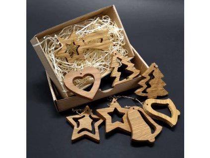 Vánoční set 8 dřevěných ozdob z masivu + krabička