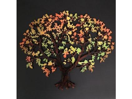Dřevěný strom v podzimních barvách, barevná závěsná dekorace, 34,5x29 cm