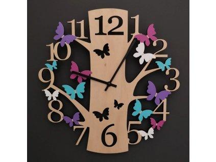 Dřevěné hodiny nástěnné ve tvaru stromu s barevnými motýlky, masivní dřevo, průměr 30 cm