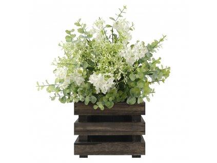 Dřevěný obal s květináčem - tmavý, 17x17x15cm Český výrobek