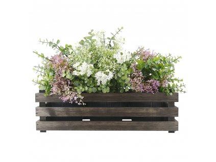 Dřevěný obal s květináči - tmavý, 47x17x15cm Český výrobek