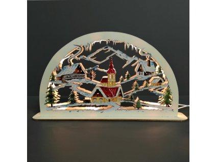 dřevěný svítící portál