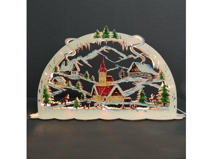 dřevěná svítící dekorace