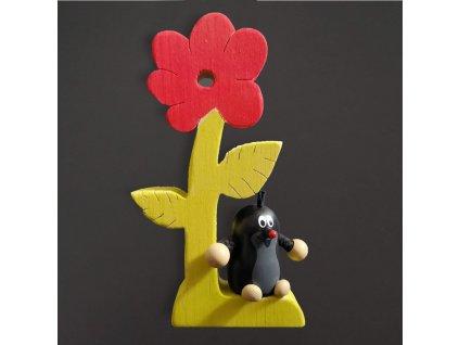 dřevěná dekorace krtek a květina