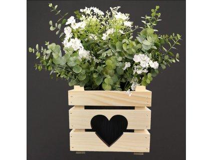 Dřevěný obal se srdíčkem na květináč, 17x17x15cm