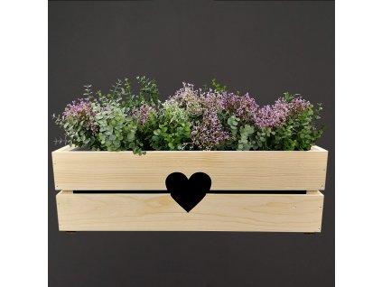 Dřevěný obal na truhlík se srdcem, 52x21,5x17cm