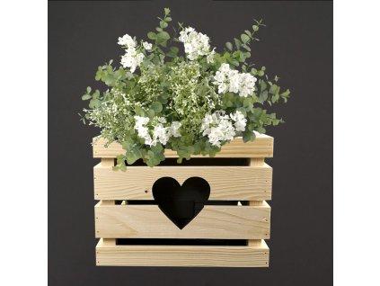 Dřevěný obal se srdíčkem na květináč, 27x27x20 cm