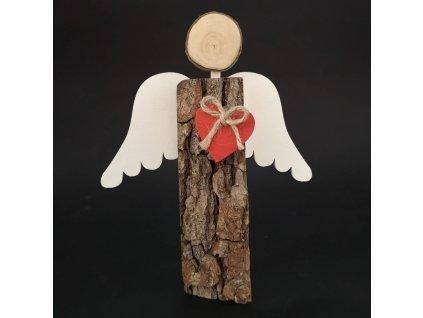 Dřevěný anděl s kůrou s bílými křídly a čeveným srdcem, masivní dřevo, 19x14,5x3 cm
