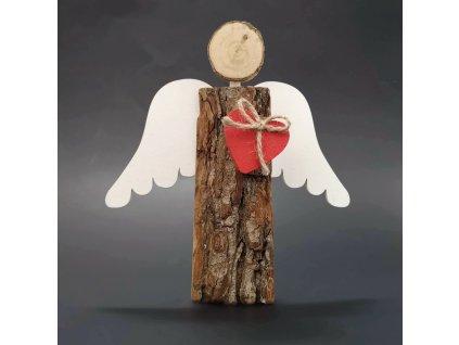 Dřevěný anděl s kůrou s bílými křídly a čeveným srdcem, masivní dřevo, 16x14,5x3 cm