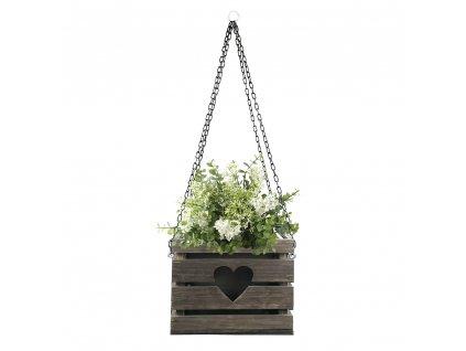 Dřevěný závěsný obal na květináč se srdcem tmavý, 27x27x20 cm Český výrobek