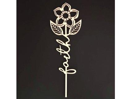Dřevěný zápich květina - Faith, délka 28 cm
