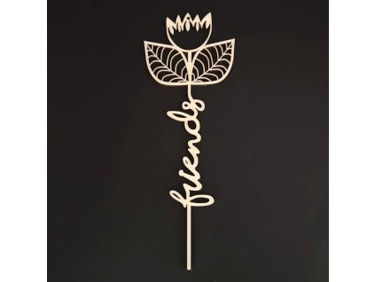 Dřevěný zápich květina - Friends, délka 28 cm