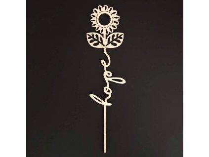 Dřevěný zápich květina - Hope, délka 28 cm