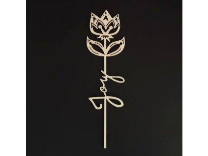 Dřevěný zápich květina - Joy, délka 28 cm