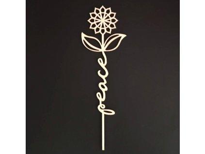 Dřevěný zápich květina - Peace, délka 28 cm