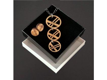 sada dřevěný náhrdelník a náušnice