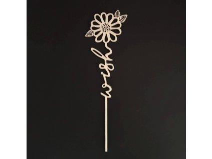 Dřevěný zápich květina - Wish, délka 28 cm