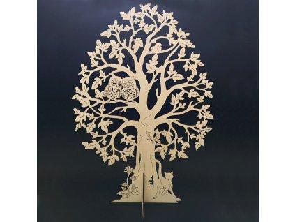 Dřevěný 3D strom se sovami, přírodní, výška 60 cm