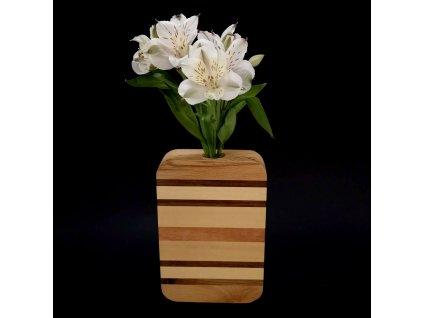 Dřevěná váza obdélníková s vodorovnými pruhy, masivní dřevo čtyř druhů dřevin, výška 18 cm