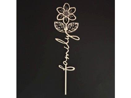 Dřevěný zápich květina - Family, délka 28 cm