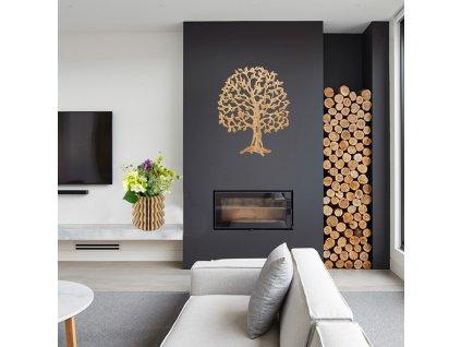 Dřevěný strom, masivní dřevo, 53x43x2,5 cm