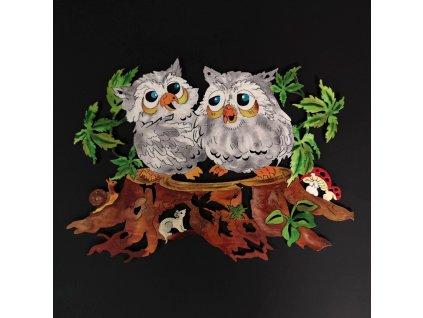 Dřevěná dekorace sovy
