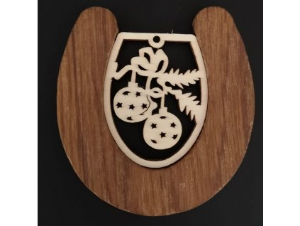 Dřevěná ozdoba z masivu s vkladem - podkova s koulemi 8 cm