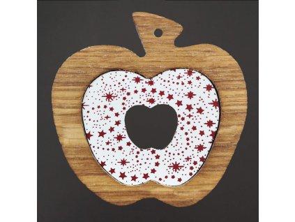 Dřevěná ozdoba z masivu s barevným vkladem - jablko s hvězdami 8 cm