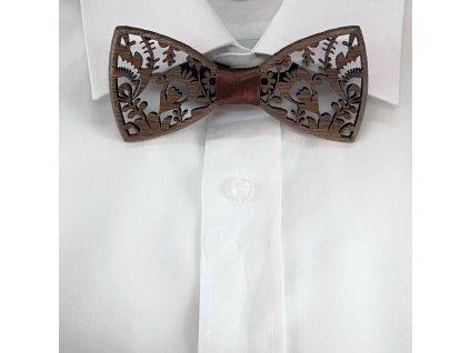 Dřevěný motýlek k obleku - krajka s hnědou stuhou 11 cm