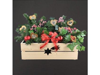 dřěvěný vánoční truhlík