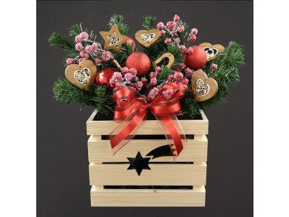 dřevěný vánoční květináč