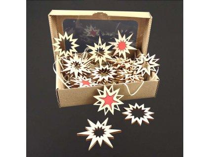 Dřevěné ozdoby - sada 25 ks dřevěných ozdob - hvězdy velikost 6 a 8 cm, český výrobek