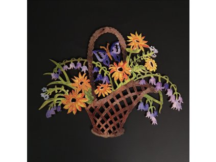 Dřevěná dekorace barevná koš s květinami 22 cm
