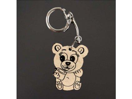 Dřevěná klíčenka k domalování medvěd, 4 cm