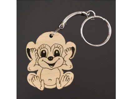 Dřevěná klíčenka k domalování opice, 4 cm