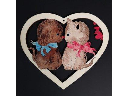 Dřevěná ozdoba barevná srdce s kočkou a psem 17 cm