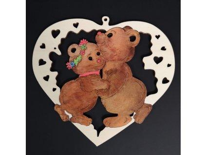 Dřevěná ozdoba barevná srdce s medvídky 15 cm