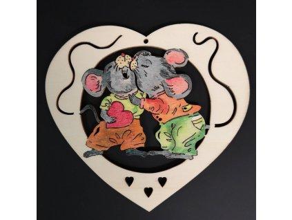Dřevěná ozdoba barevná srdce s myškami 15 cm