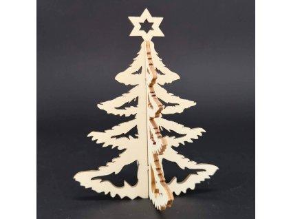 Dřevěný 3D stromek, výška 10 cm