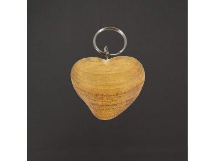 Dřevěný přívěšek na klíče srdce, 5 cm