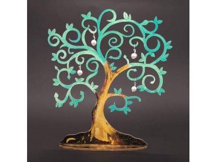 Dřevěný 3D strom zelený s bílými ozdobami, výška 20 cm