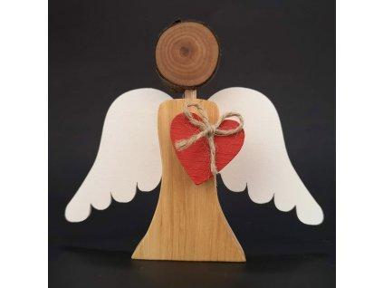 Dřevěný anděl s bílými křídly a červeným srdcem, masivní dřevo, 12,5x14x2 cm