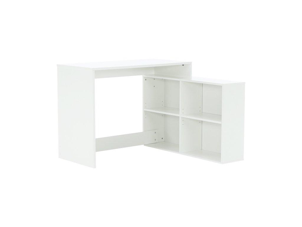 Rohový PC stolík, biela, KORNER